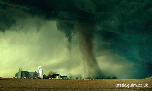 Green clouds and tornado